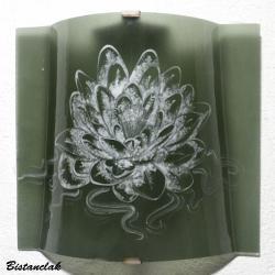 applique motif lotus blanc sur fond gris acier