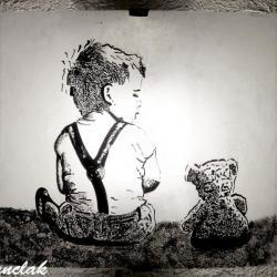applique luminaire motif le petit garçon et l'ourson