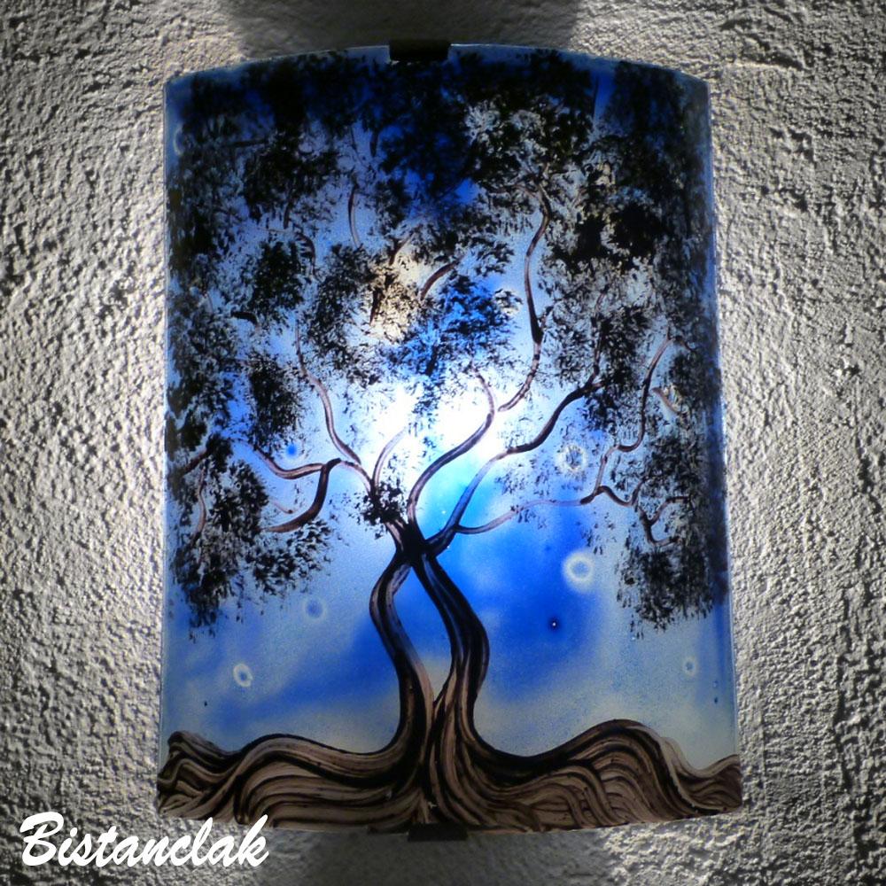 applique murale bleu cobat au motif de l'arbre de jane