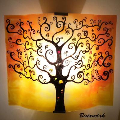 applique murale arbre de vie jaune et orange
