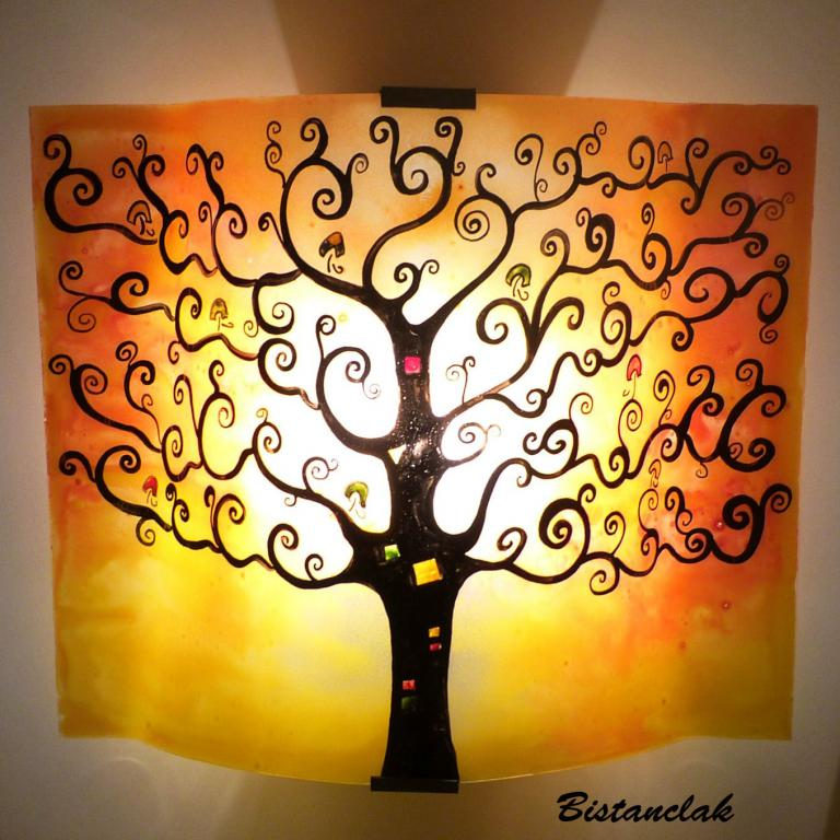 applique murale arbre de vie jaune et orange