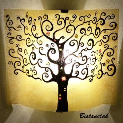 applique murale jaune moisson motif arbre de vie