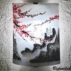 applique murale motif fleur rose de cerisier du japon