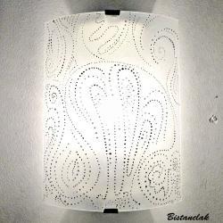 applique murale éclairante motif pointillisme noir et blanc