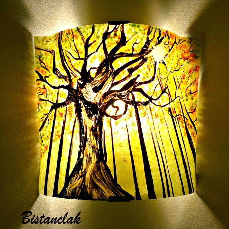 applique murale motif forêt verte et jaune
