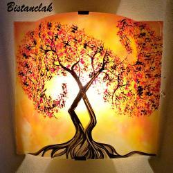 applique murale jaune orangé motif l'arbre volute rouge