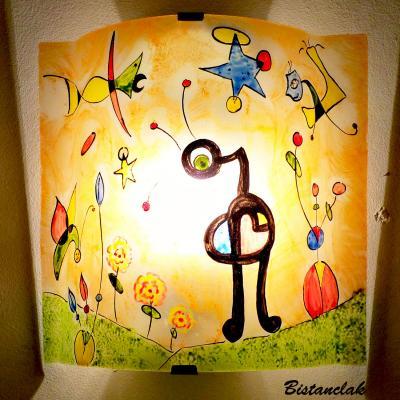 applique murale orange et multicolore le jardin de Miro (3)