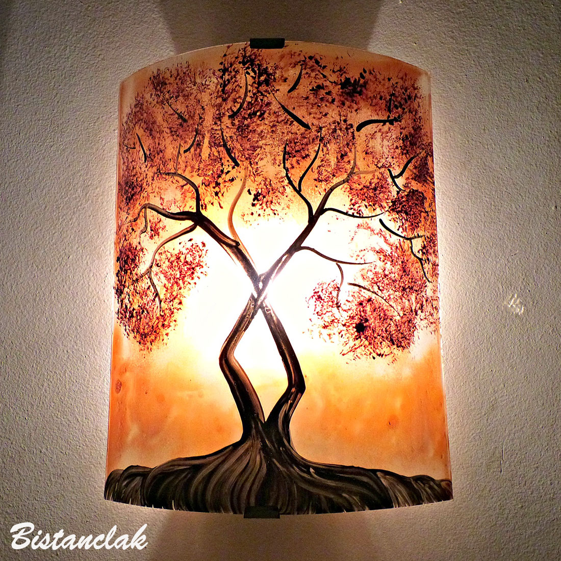 applique murale orange motif l'arbre de jane au feuillage rouge