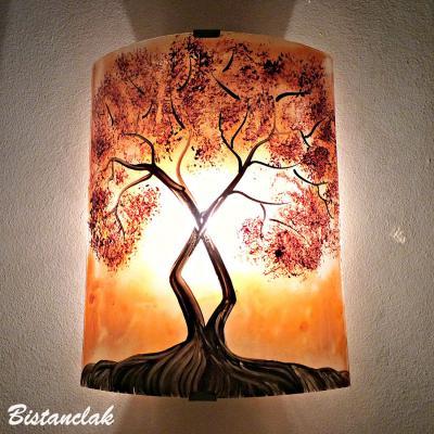 applique murale orange motif l'arbre de jane au feuillage rouge