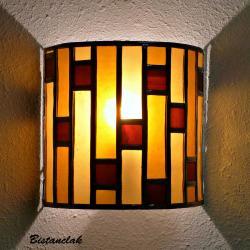 applique vitrail demi-cylindre art déco ambre et rouge foncé
