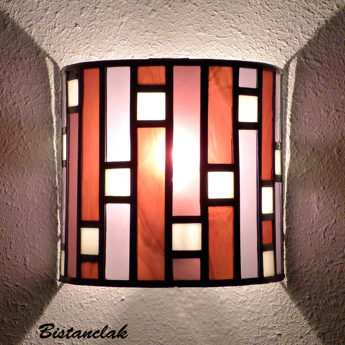 applique vitrail style art déco rose lie-de-vin violet et blanc