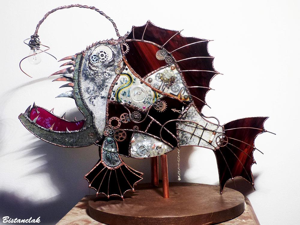Création poisson steampunk en vitrail tiffany