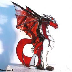 décoration dragon vitrail rouge et ivoire vendu en ligne