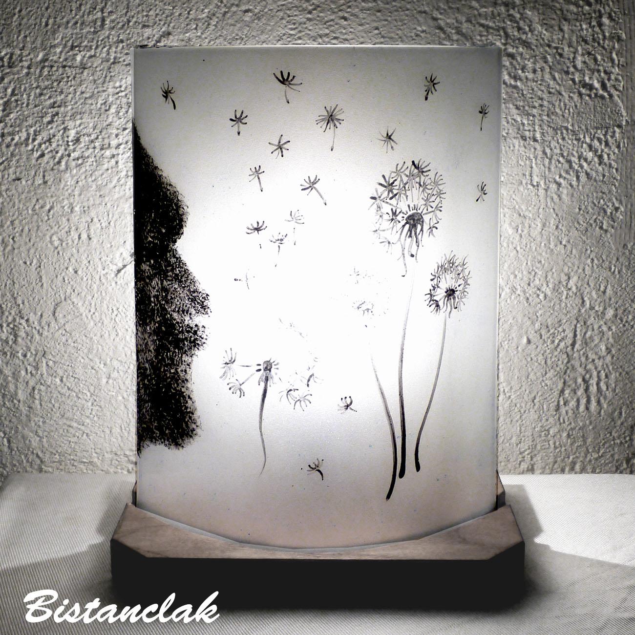lampe à poser noire et blanche motif le souffle du pissenlit