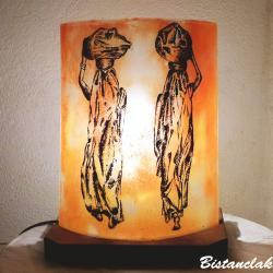 lampe à poser orange motif Les femmes nomades