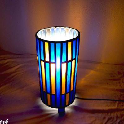 Lampe vitrail forme cylindre bleu cobalt et ambre