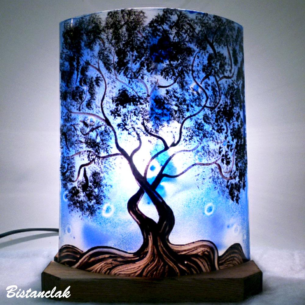lampe d'ambiance bleu cobalt à poser motif l'arbre de Jane