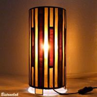 luminaire vitrail cylindre ambre et rouge bordeau