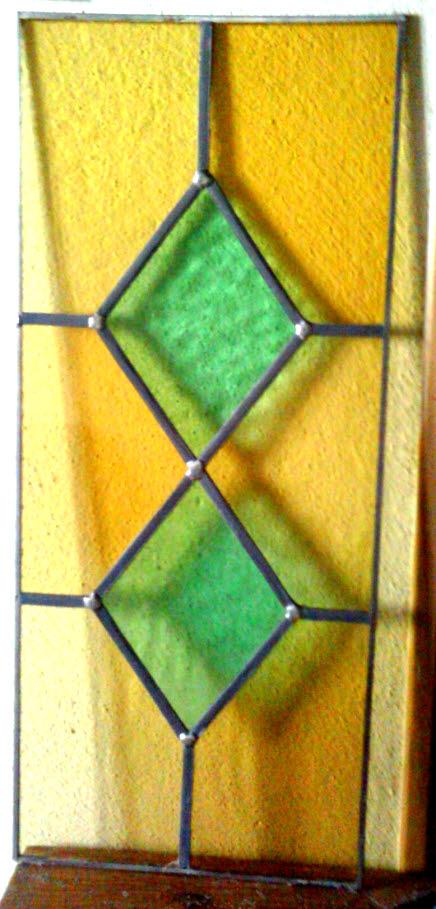 vitrail losange jaune et vert