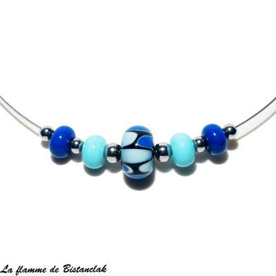 Collier ras-du-cou perles de verre bleu collection écaille