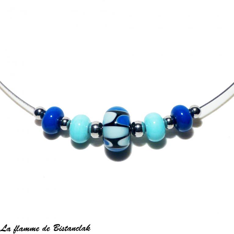 Collier ras-du-cou perles de verre bleu collection écaille