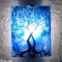 applique motif arbre au feuillage bleu cyan