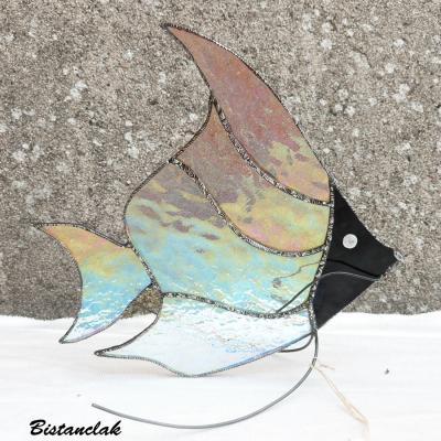 déco poisson transparent iridescent multicolore en vitrail