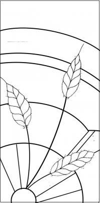 maquette vitrail épi et roue