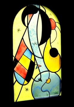 Vitrail motif abstrait et coloré inspiration Miro