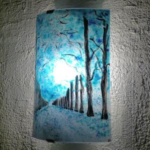 Applique allee d arbres bleu