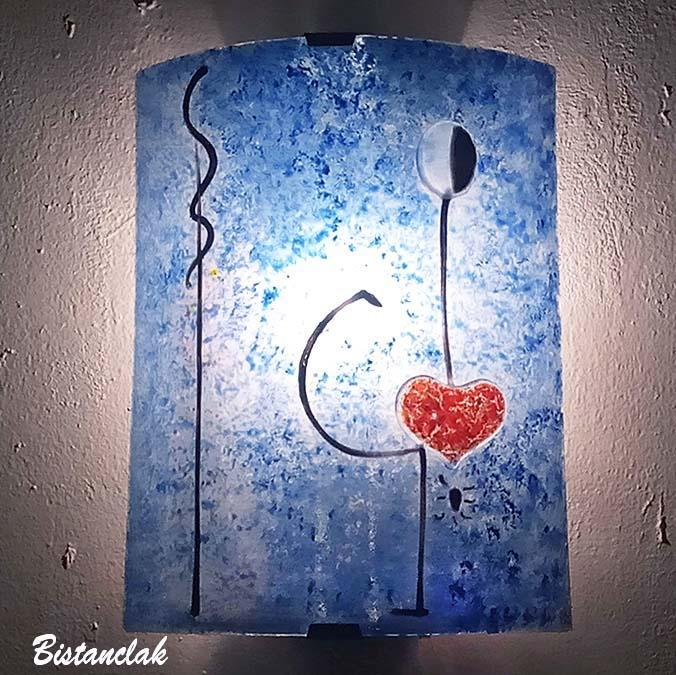 Applique artisanale coloree bleu motif abstrait la danseuse de miro