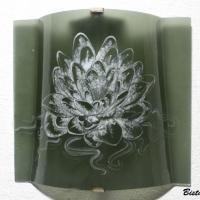 Applique artisanale decorative couleur gris acier motif lotus blanc 4