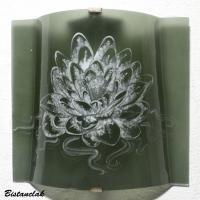 Applique artisanale decorative couleur gris acier motif lotus blanc 7