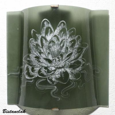 applique gris taupe motif lotus blanc