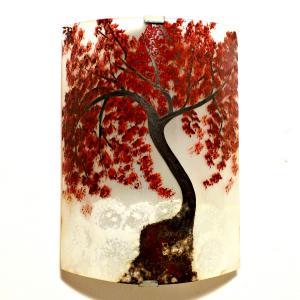 Applique artisanale decorative motif l arbre rouge au dessus des nuages 1