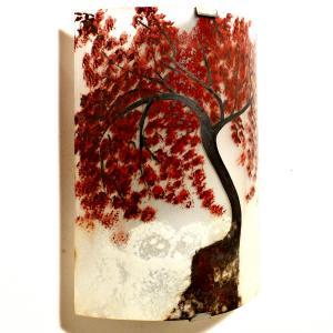 Applique artisanale decorative motif l arbre rouge au dessus des nuages 3
