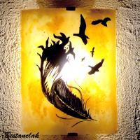 Applique artisanale jaune orange motif plume et oiseaux