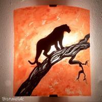 Applique artisanale orange motif felin