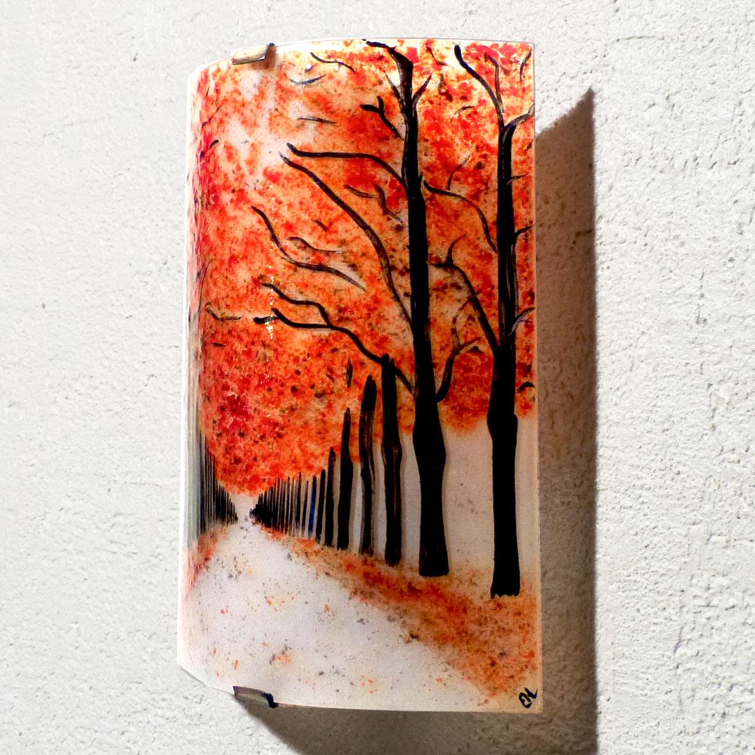 Applique au motif d un chemin borde d arbres rouge 1