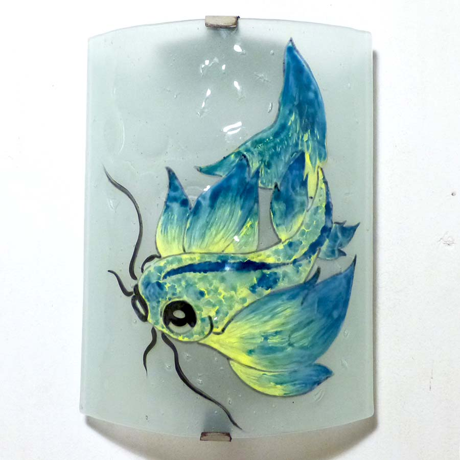 Applique décorative motif poisson carpe jaune et bleu
