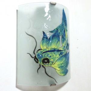 Applique décorative motif poisson carpe bleu et jaune