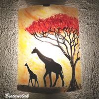 Applique d ambiance africaine au dessin de deux girafes sous un arbre rouge vendue en ligne sur notre site