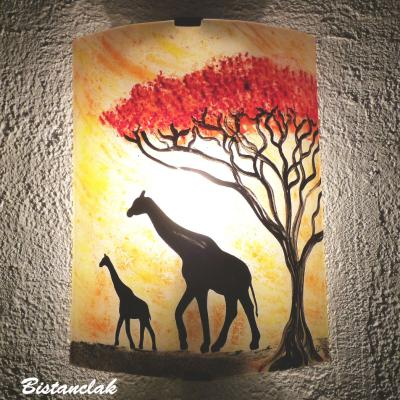 Applique jaune orangé motif girafes