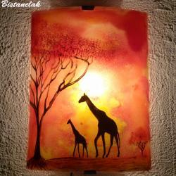 Applique en verre colorée rouge orange motif girafe