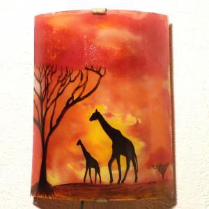 Applique d ambiance africaine demi cylindre jaune orange rouge motif les girafes dans la savane 3