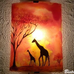 Applique d ambiance africaine demi cylindre jaune orange rouge motif les girafes dans la savane 5