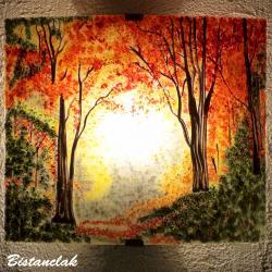 applique en verre au motif d'un paysage clairière d'automne