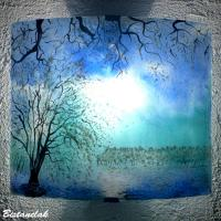 Applique d ambiance bleu et turquoise motif arbres au feuillage blanc vendue en ligne sur notre site