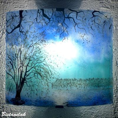 Applique luminaire d'ambiance bleu et turquoise motif Paysage d'arbres blancs