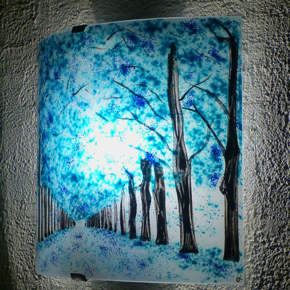 Applique d ambiance chemin borde d arbres bleu